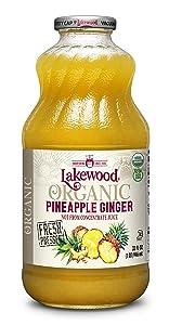 Lakewood Organic Pineapple Ginger Juice, Fresh Pressed (32 oz, 6 pack)