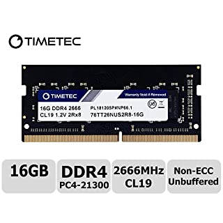 Timetec 16GB DDR4 2666MHz PC4-21300 Unbuffered Non-ECC 1.2V CL19 260 Pin SODIMM Laptop Notebook Computer Memory RAM Module Upgrade S Series (Not for iMac 2019)