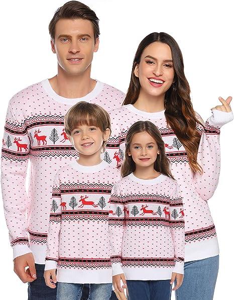 Hawiton Famiglia Maglione di Natale Maglione Invernale Natalizio da Donna Uomo e Bambino Pullover per Famiglia in Maglia Caldo con Modello di Renna Neve Felpa Natale Famiglia in Girocollo