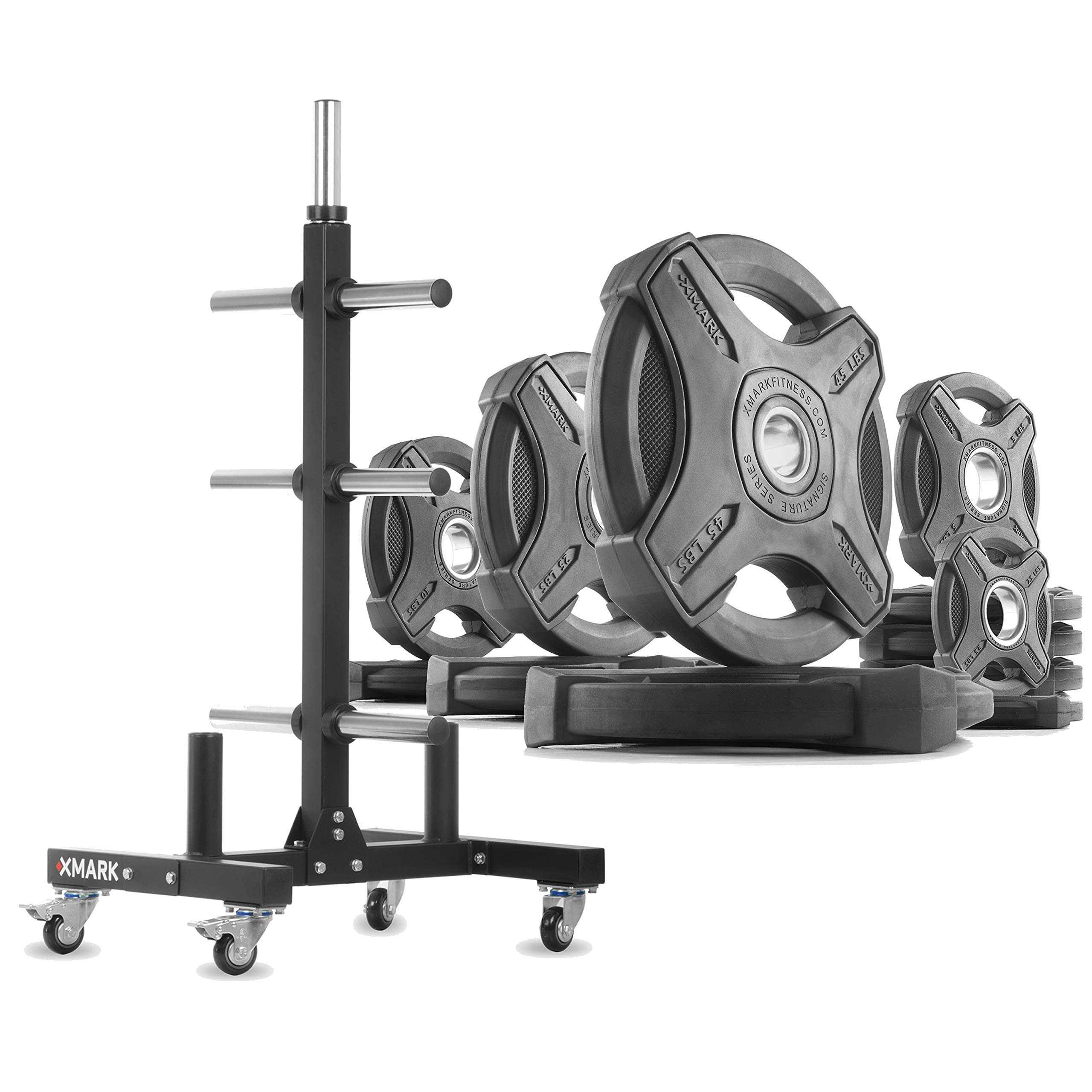 XMark XM-9055 Commerical Olympic Weight Tree Plus a 185 lb Set of Signature Olympic Plates by XMark