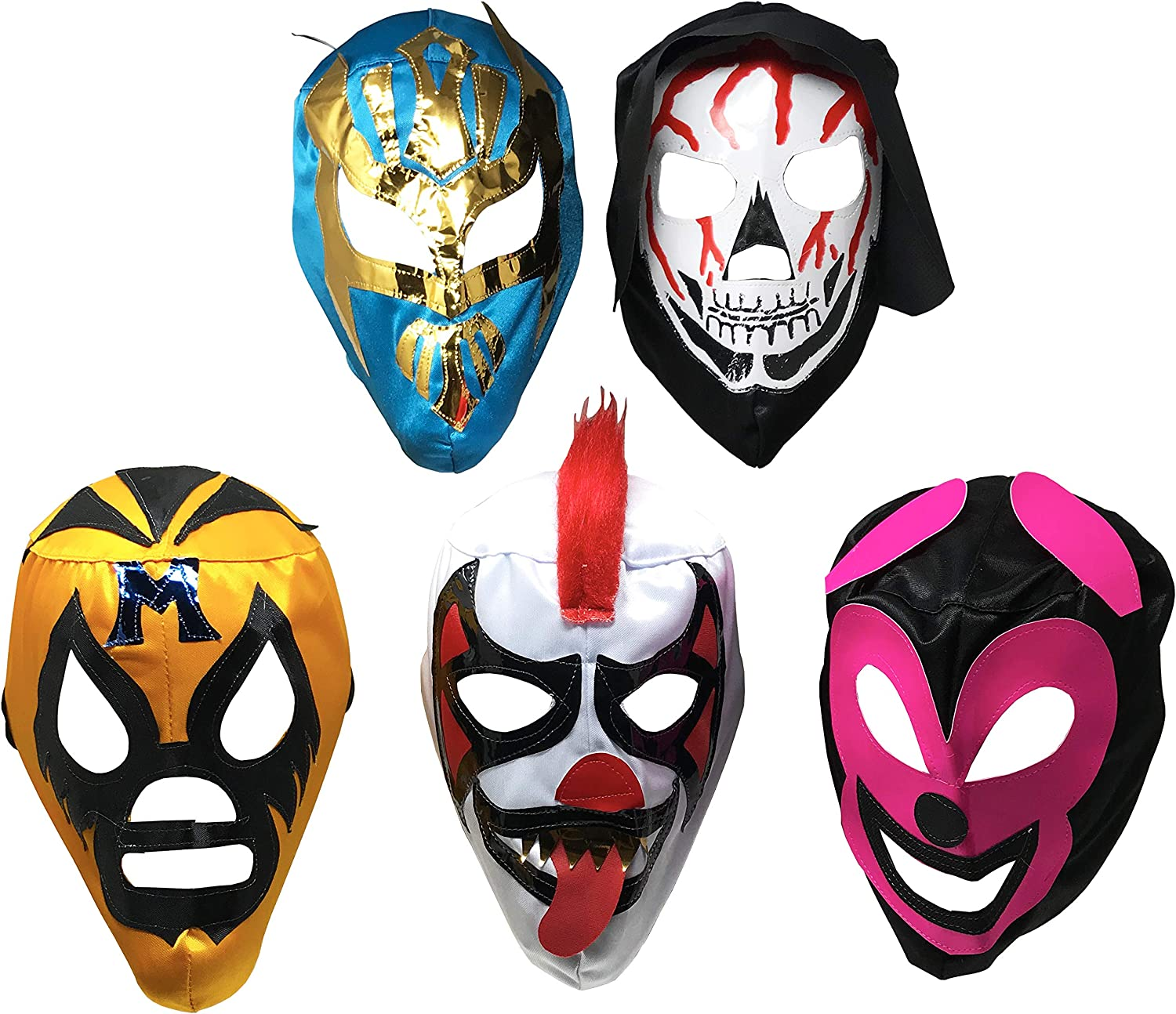 5PACK Máscaras de Luchador   Assorted Mexican Wrestling Masks   Excellent Costume for Mexican Fiesta   Adult Size Lucha Libre Mask   Traditional Luchador Mask