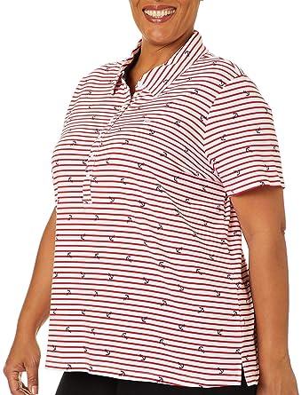 1edcb35e79 Gloria Vanderbilt Plus Annie Striped Anchor Polo Shirt at Amazon Women's  Clothing store: