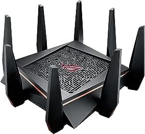 راوتر اسوس ثلاثي واي فاي(حتى 5334 ميجابت لكل ثانية)لبث خاصية تقليل الاهتزاز و4كيه بمعالج رباعي 1.8 جيجاهرتز ومنفذ العاب ونظام شبكي منزلي كلي وشبكة اي بروتيكشن بمنافذ للشبكة المحلية 8 جيجابت(GT-AC5300)