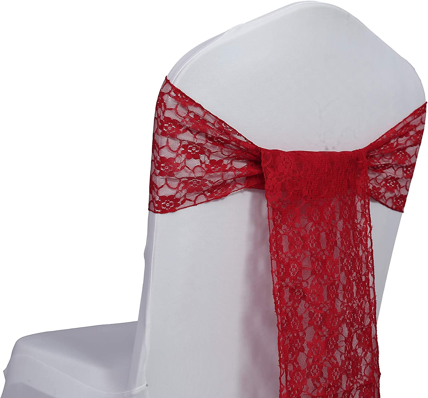 mds Pack of 25 Lace Chair Bow Sashes sash for Wedding or Events Party Supplies Chair lace sash - Apple red