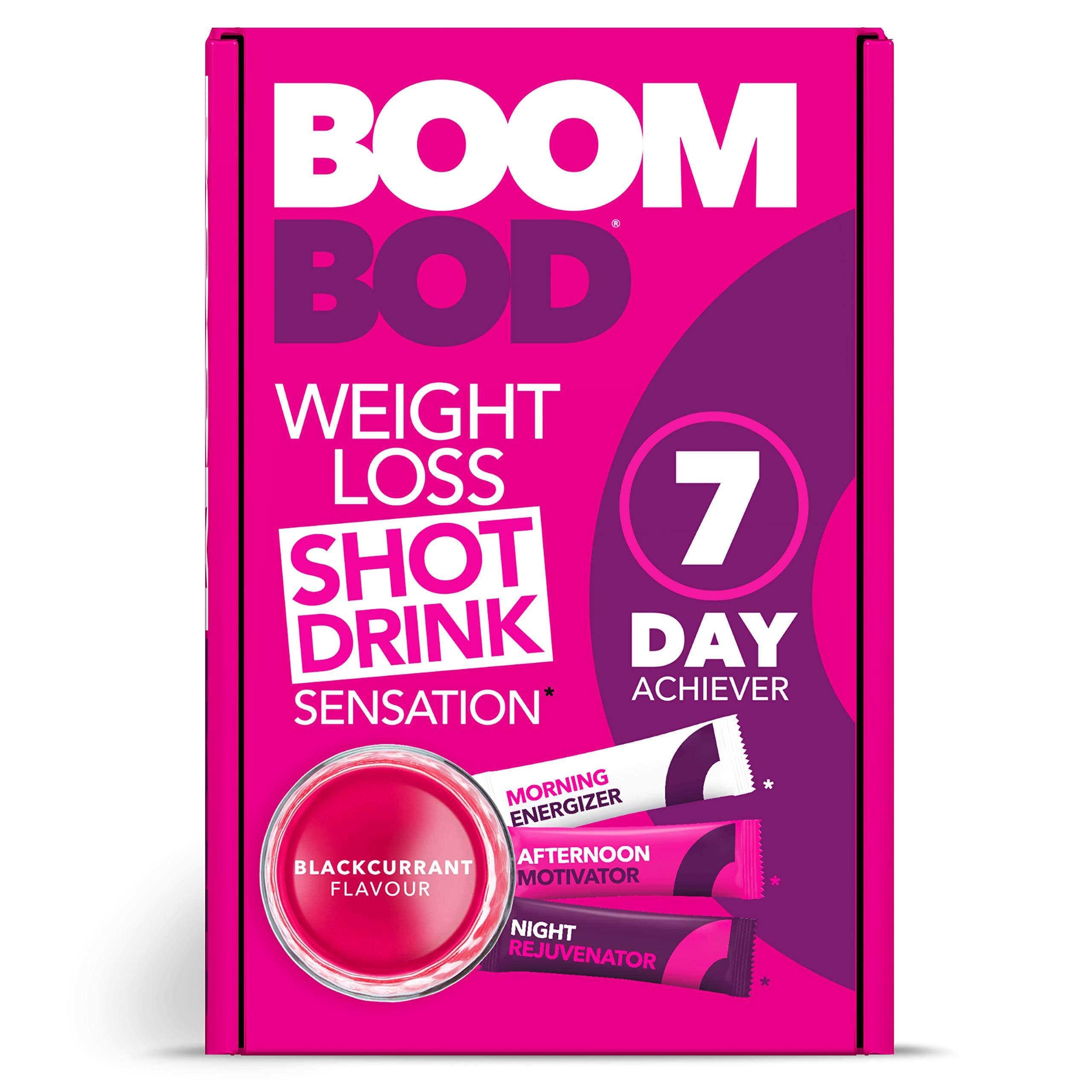 Boombod Weight Loss Shot Drink, Glucomannan, High Potency, Diet & Exercise Enhancement, Promote Fat Loss, Keto & Vegetarian Friendly, Sugar & Aspartame Free, Gluten-Free | Blackcurrant Flavor
