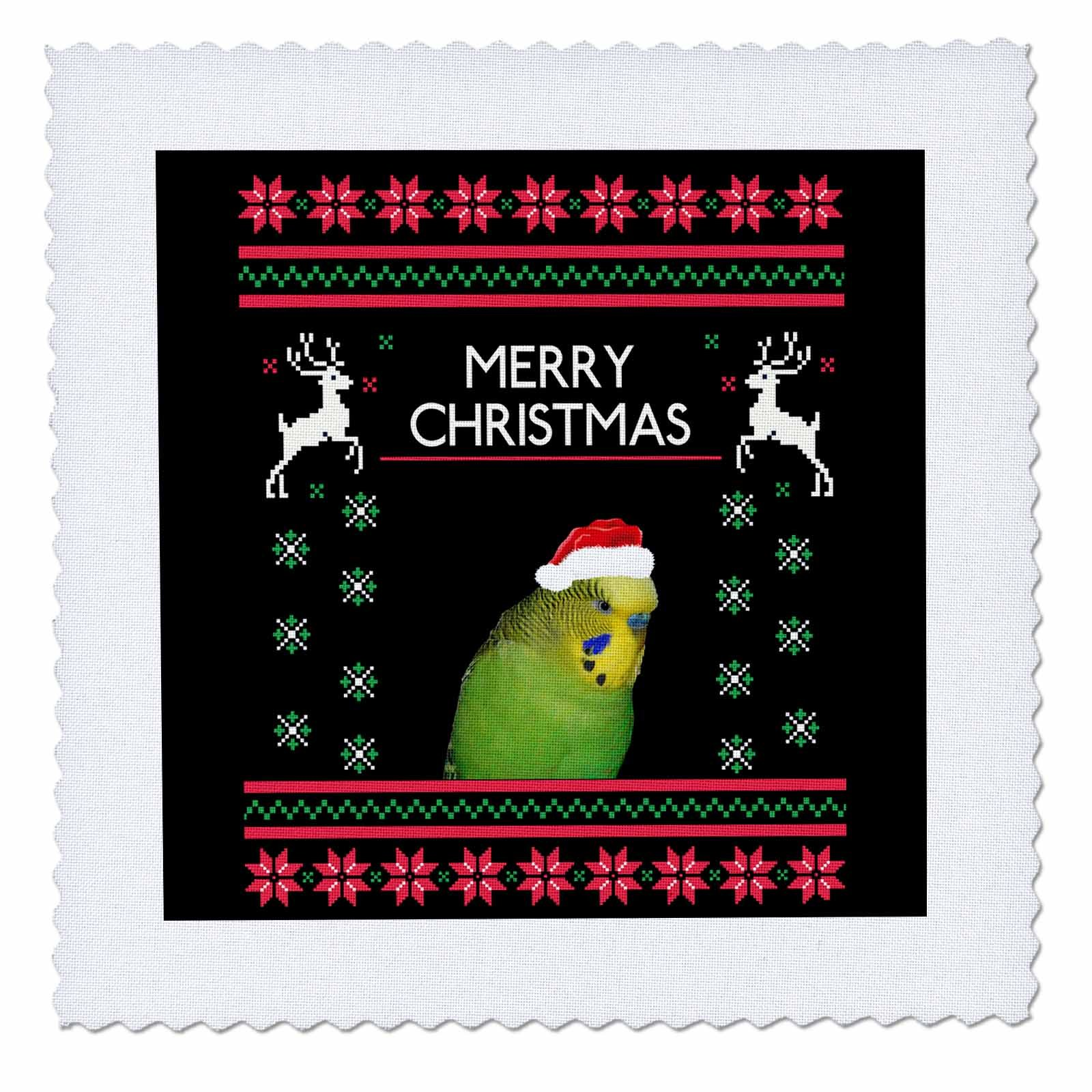 3dRose Sven Herkenrath Animal - Funny Budgie Budgerigar Parrot Xmas Christmas - 16x16 inch quilt square (qs_266262_6)