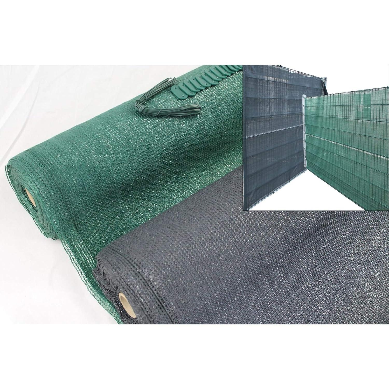 HDPE-Zaunblende Sichtschutz 1,6 x 25 m Tennisblende Schattier Gewebe grün