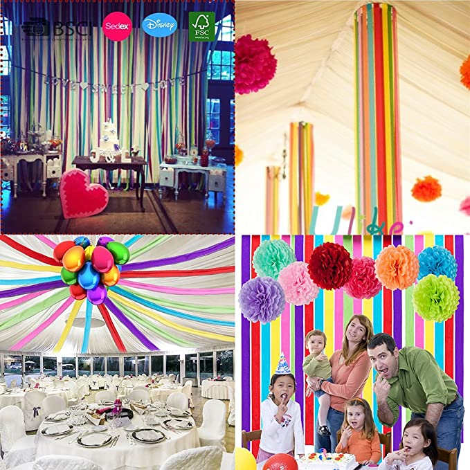 Amazon Jmay Crepe Paper Streamers For Birthday Wedding Party Decoration Colors 12 Pcs Toys Games