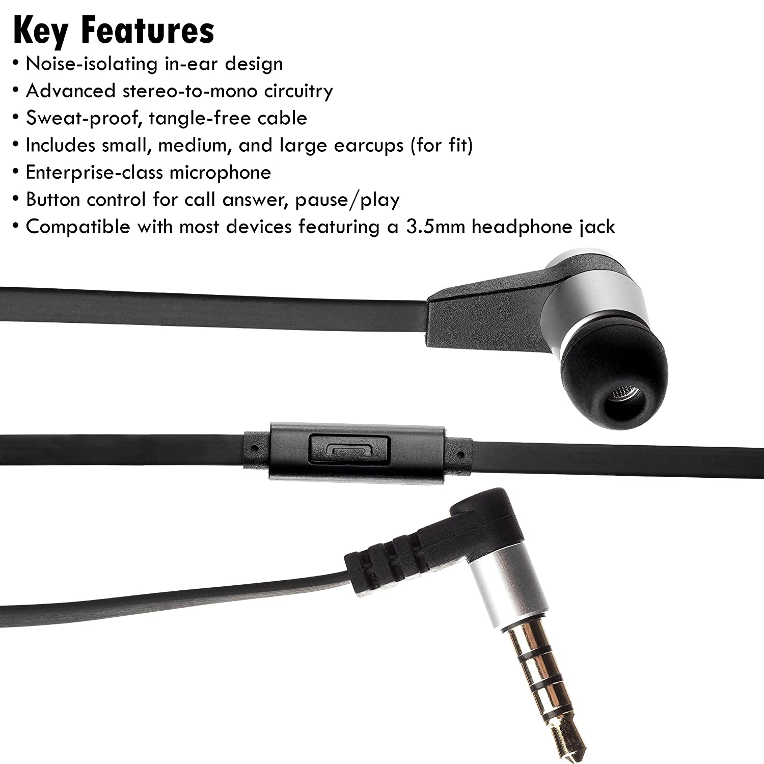 Amazon.com: Single Earbud Stereo-to-Mono Headphone w/Mic (Black ...