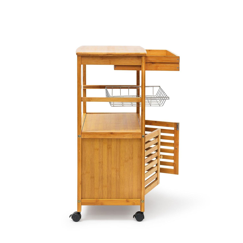 Relaxdays küchenrollwagen xl hx b x t 80 x 60 x 35 cm james bambus ...