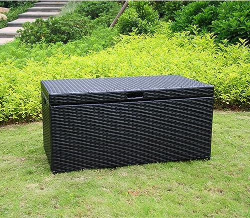 40 Black Resin Wicker Outdoor Patio Garden Hinged Lidded Storage Deck Box