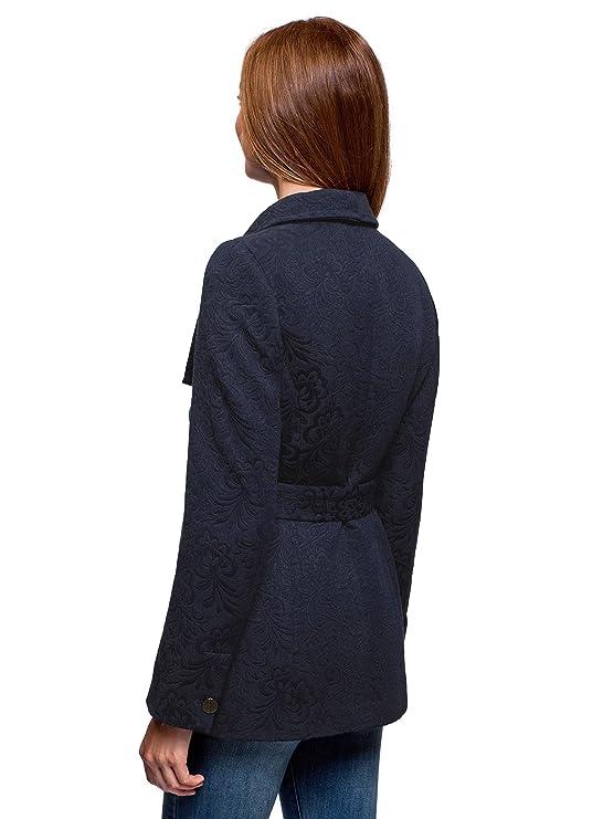 oodji Ultra Mujer Abrigo de Jacquard Recortado, Azul, ES 38 / S: Amazon.es: Ropa y accesorios