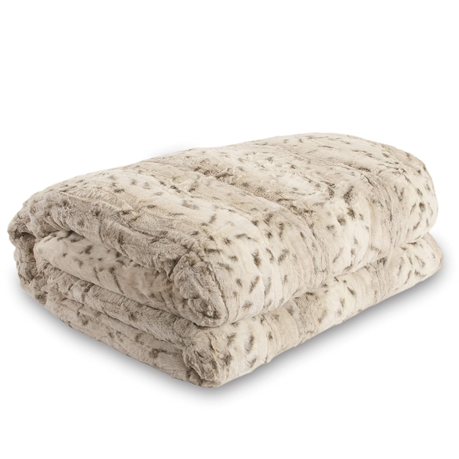 Lucy's Luxury Bellahome Safari Faux Fur Plush Throw Blanket Comforter, King