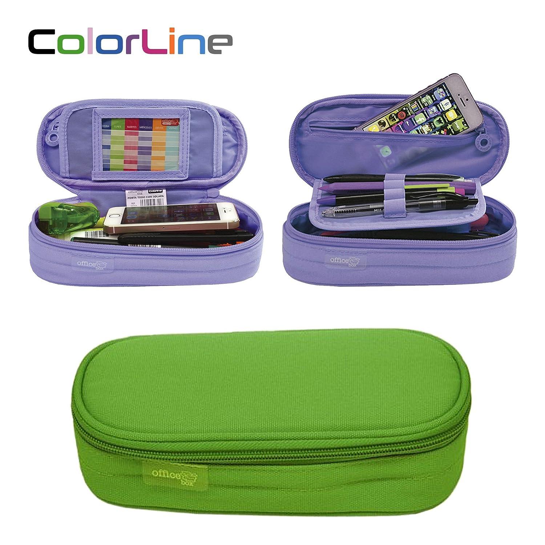 Colorline 59711 - Astuccio Portapenne / Portatutto Mega, Custodia Multi Purpose da Materiale Scolastico. Colore Nero, Misure 21 x 9 x 5.5 cm PracticOffice