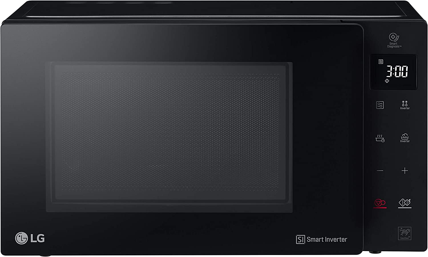 LG MH6535GIB Microondas Grill Smart Inverter Microondas 1000 W, Grill 900 W, Micro+Grill 1450 W, 25 litros de capacidad, Display LED, Plato interior 292 mm, Color Negro