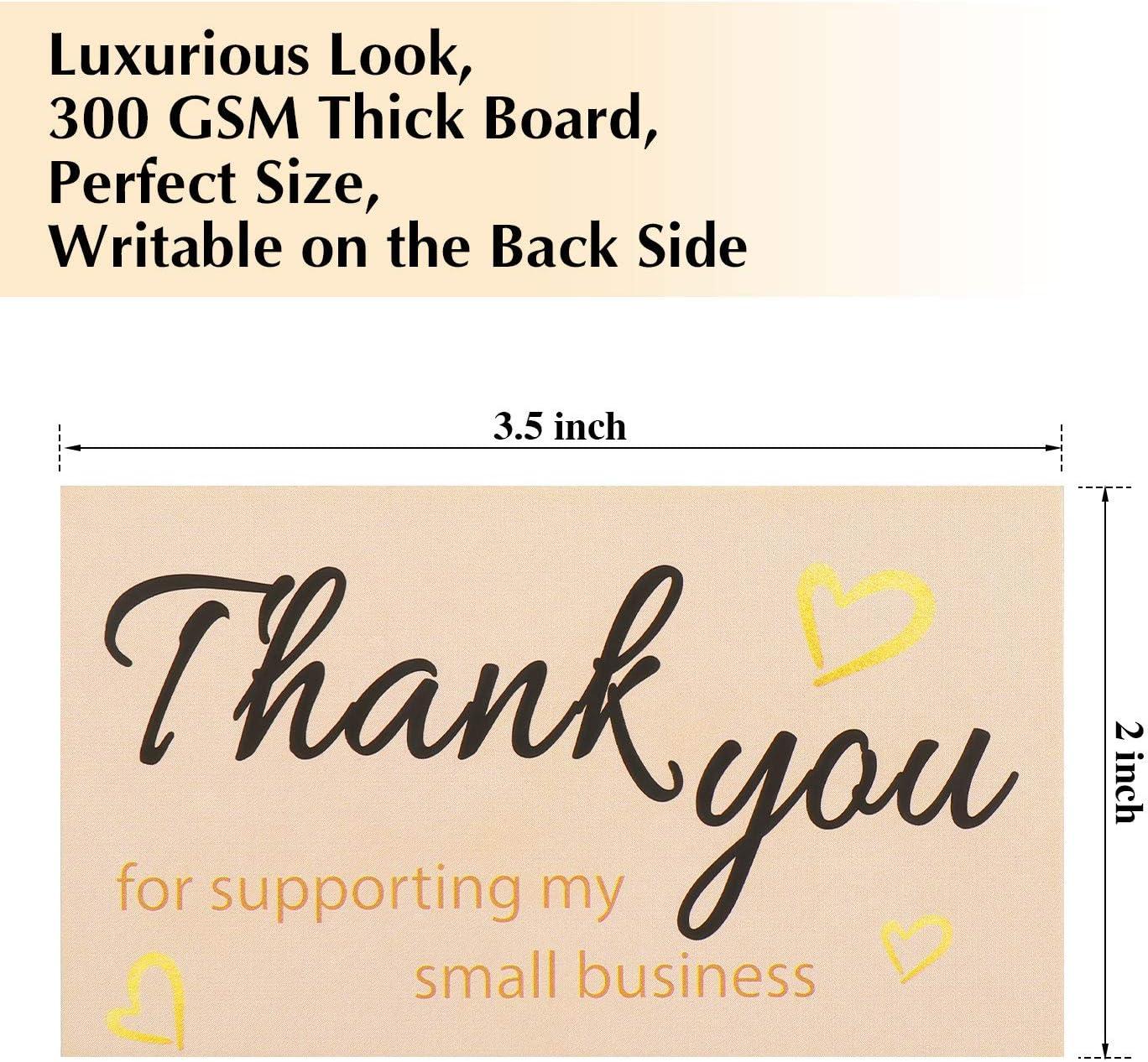 5 x 8,9 cm f/ür kleine Gesch/äftsinhaber 200 St/ück Thank You For Supporting My Small Visitenkarten Small Online Business Paket Einlage Qualit/ät Look and Feel mit Goldfolien-Herzen