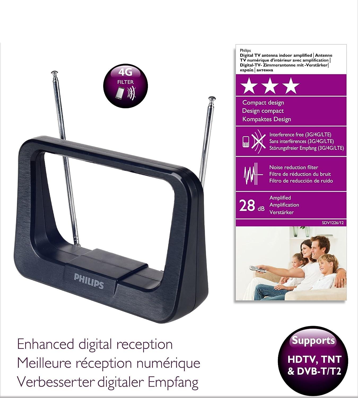 Philips SDV1226/12 Antena de televisión – Antenas de TV (Negro, 1,8 m, FM,UHF, VHF, 28 dB)