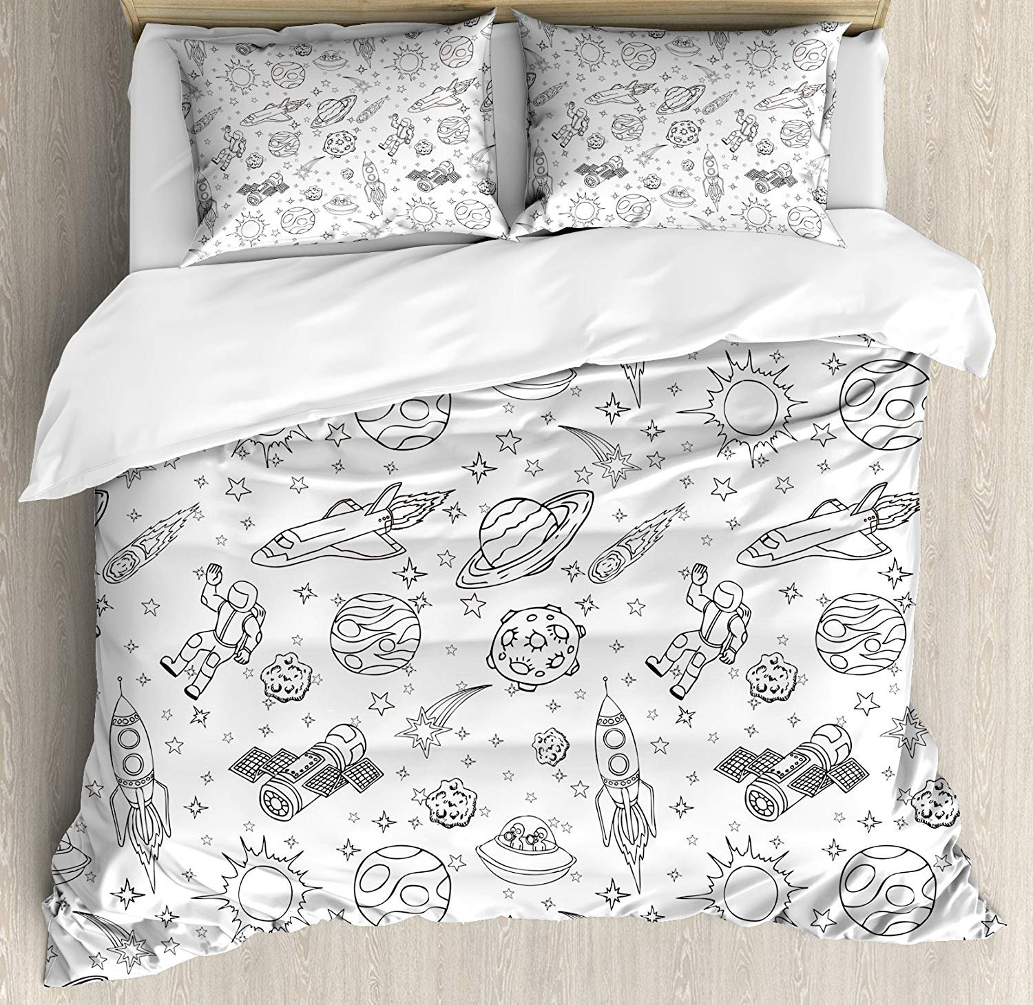 Boy's 4 Piece Bedding Set Twin Size, Doodle Solar System Astronauts Space Crafts and Shooting Stars Science Fiction Theme, Duvet Cover Set Quilt Bedspread for Childrens/Kids/Teens/Adults, Black White