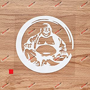 Buddha Circle Buddhism Decal Vinyl Sticker Hindu Hinduism Silhouette - White 5 Inches - No Background for Car Boat Laptop