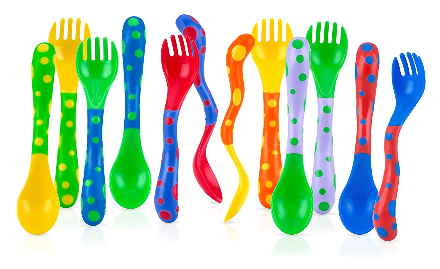 Nuby 4-Pack Spoons and Forks (2 Each), Colors May Vary Luv N Care/NUBY 5251