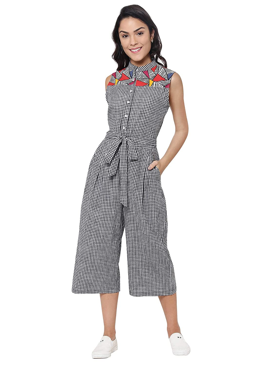 official supplier top design watch Martini Women Black & White Gingham Check Cotton Jumpsuit