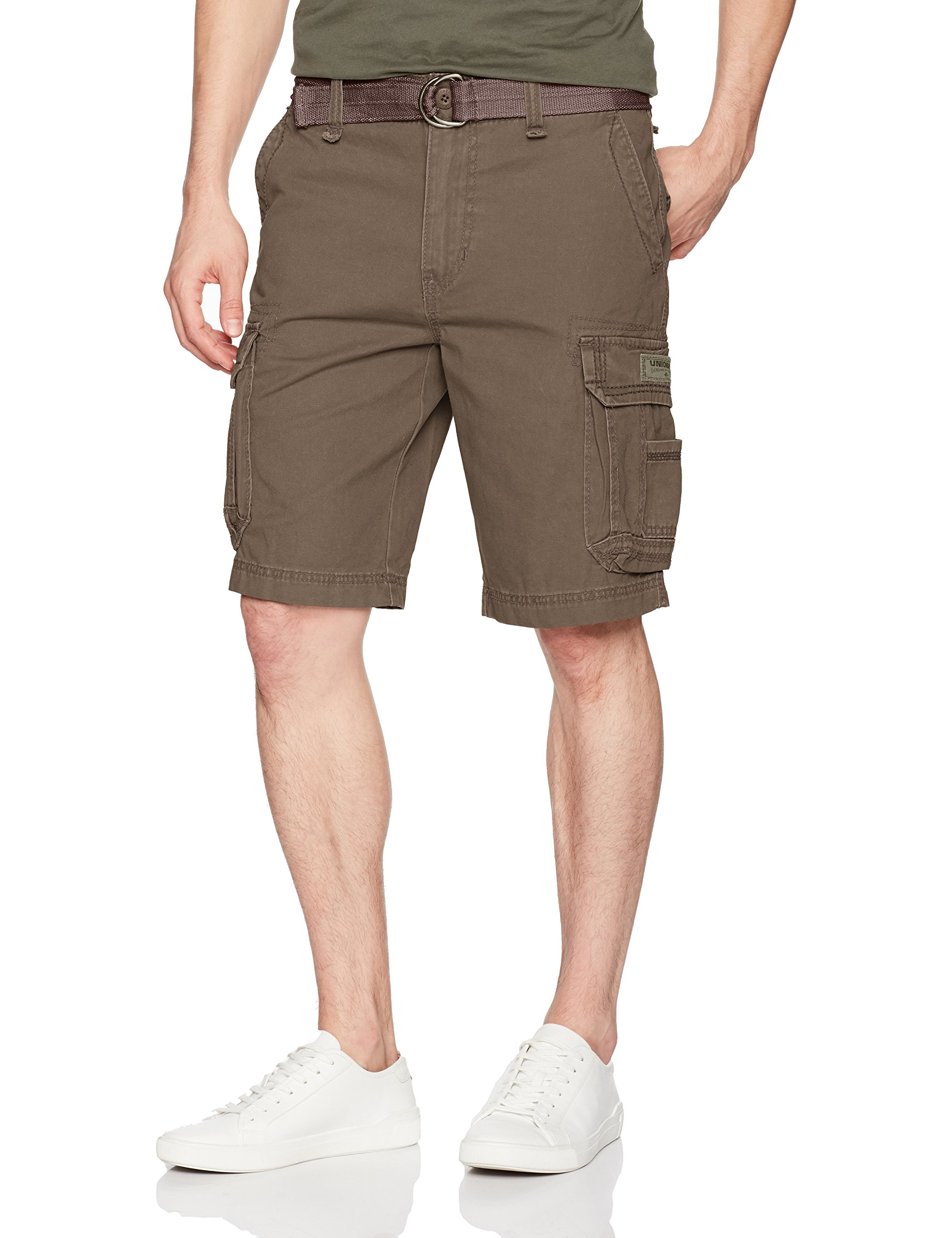 UNIONBAY Men's Survivor Belted Cargo Short-Reg and Big and Tall Sizes, Saddle, 36