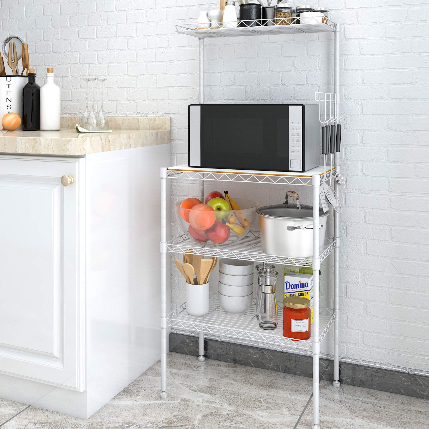 Lifewit 4-Tier Rolling Cart Slim Storage Cart Narrow Kitchen Cart Mesh Wire Metal with Wheels for Gap Kitchen, Bathroom Slim Storage Rack LF233195WH