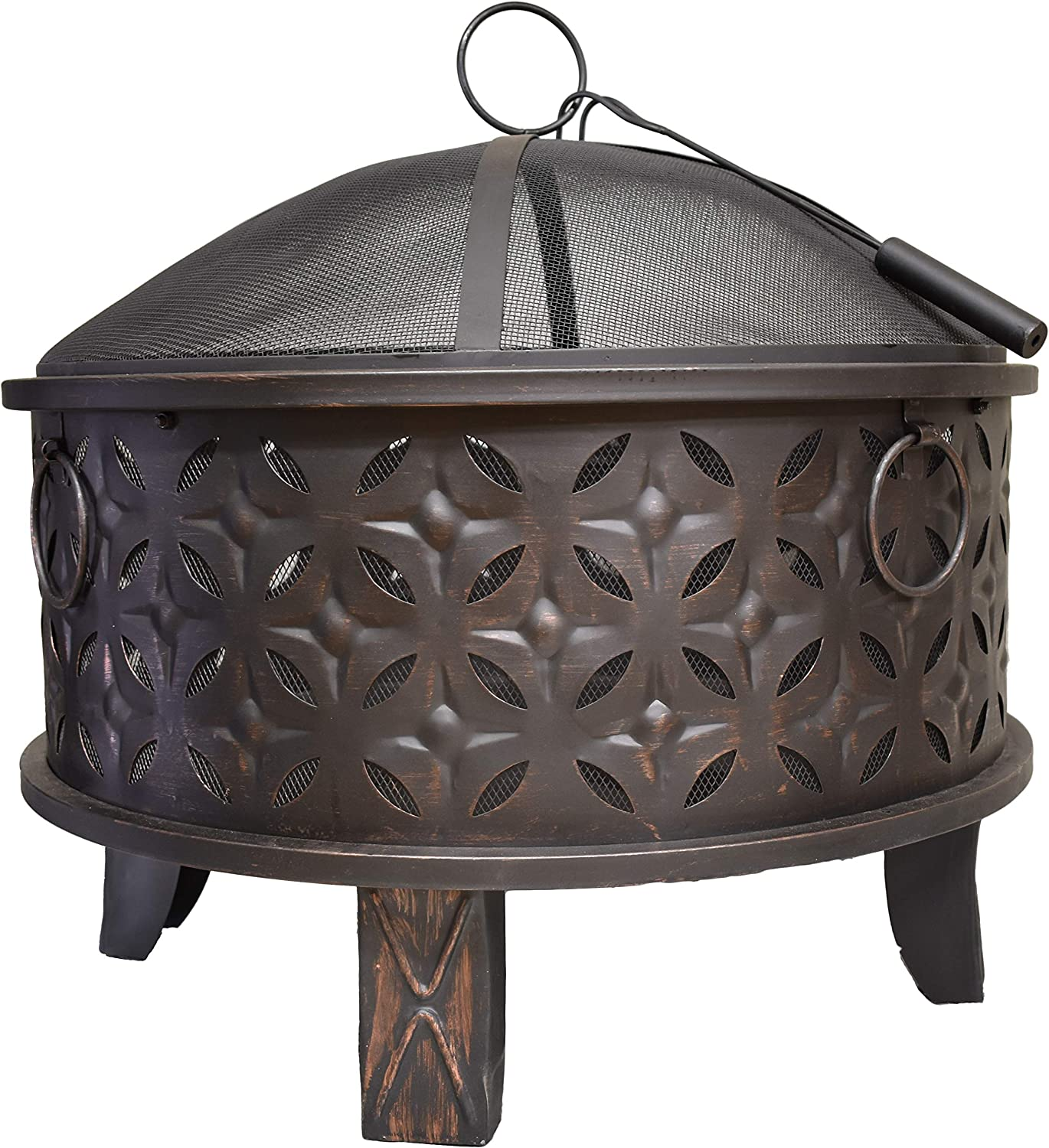Amazon Com Global Outdoors 30 In Deep Bowl Steel Fire Pit With Spark Screen Weather Resistant Cover And Safety Poker Garden Outdoor