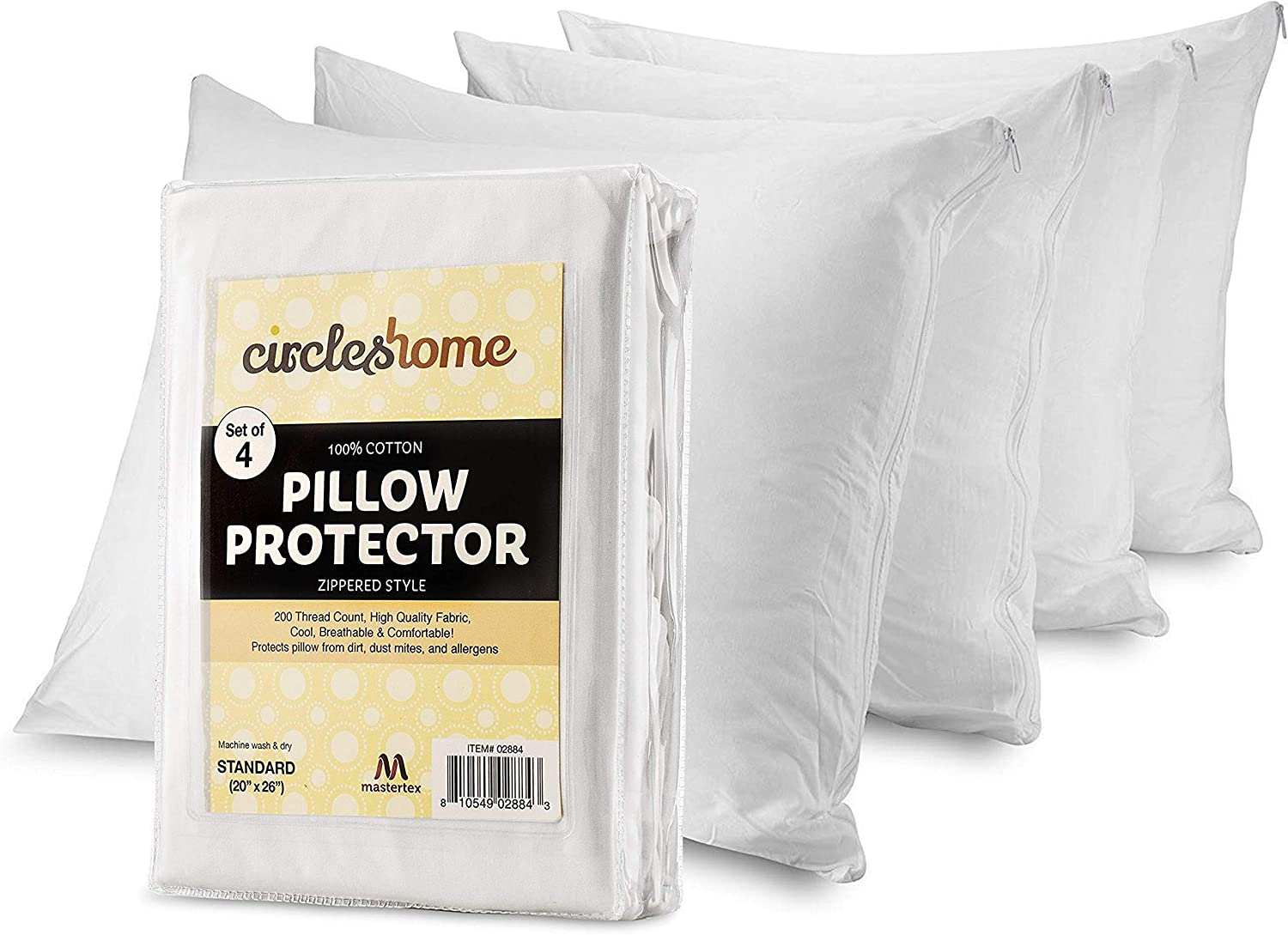 CIRCLESHOME Pillow Protectors 4 Pack Standard Zippered | 100% Cotton Breathable Pillow Covers | Protects from Dirt, Dust & Allergens | Hypoallergenic & Quiet (Standard - Set of 4-20x26): Home & Kitchen