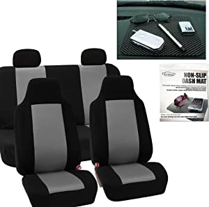 FH Group FH-FB102114 Full Set Classic Cloth Car Seat Covers Gray/Black Color FH1002 Non-Slip Dash Pad - Fit Most Car, Truck, SUV, or Van