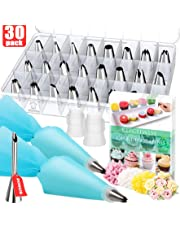 Kitchwise Cake Decorating Supplies Kit Tips 30 Pieces, 24 Stainless Steel Icing Tip Set, 2 Reusable Coupler and 2 Silicone Pastry Bags