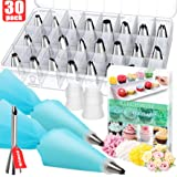 Kitchwise Cake Decorating Supplies Kit Tips 30 Pieces, 24 Stainless Steel Icing Tip Set, 2 Reusable Coupler and 2 Silicone Pastry Bags …