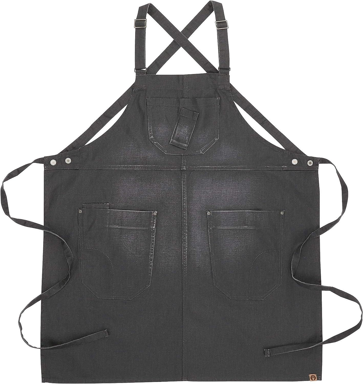 One Size Chef Works Galveston Cross-Back Bib Apron Gray