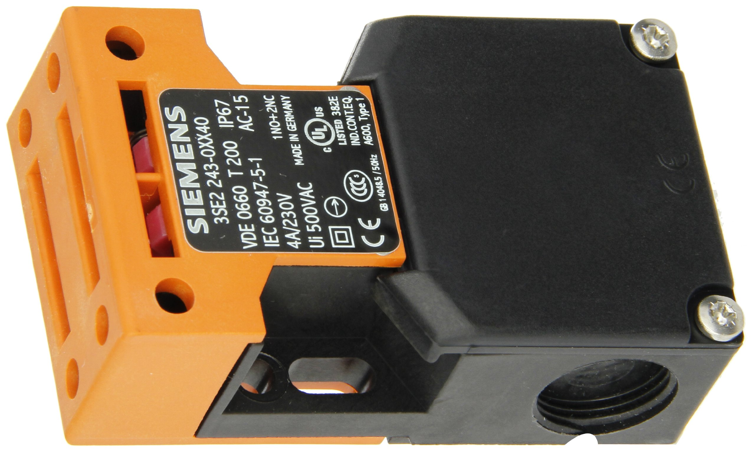 Siemens 3SE2 243-0XX40 Interlock Switch, Molded Plastic Enclosure, Top and Side Entry, M20 x 1.5 Connecting Thread, 5N Extraction Force, 3 Slow Action Contacts, 52mm Enclosure Width
