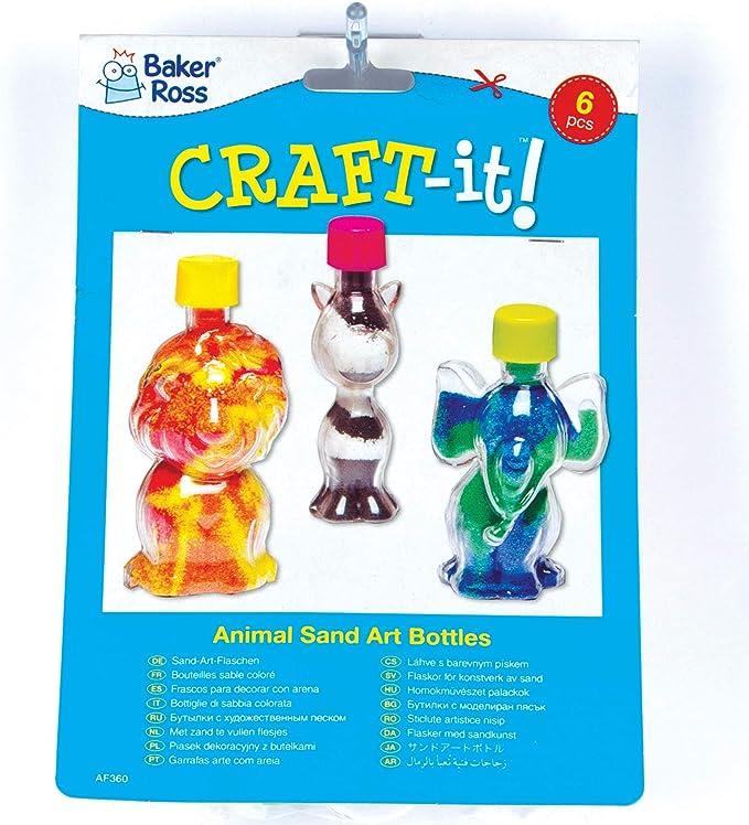 confezione da 5 Baker Ross Bottigliette per Sand Art Conchiglie per Bambini da Riempire con Sabbia Colorata ed Esporre