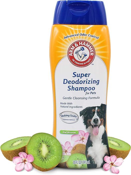 Arm & Hammer Super Deodorizing Shampoo for Dogs | Odor Eliminating Shampoo for Smelly Dogs & Puppies | Kiwi Blossom, 20 Ounces