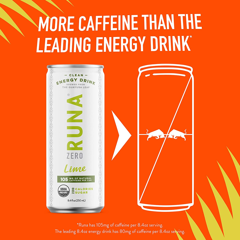RUNA ZERO Organic Clean Energy Drink, Lime | High Caffeine Coffee  Alternative | Sustained Energy