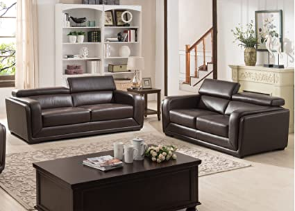 AC Pacific 2 Piece Calvin Collection Modern Style Leather Living Room Sofa  And Love Seat Living