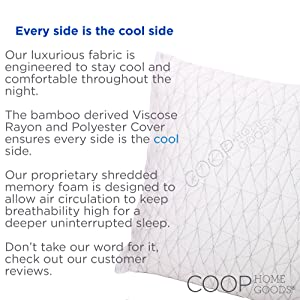 Coop Home Goods - PREMIUM Adjustable Loft - Shredded Hypoallergenic Certipur Memory Foam Pillow with washable removable cooling bamboo derived rayon cover . Every side is the cool side
