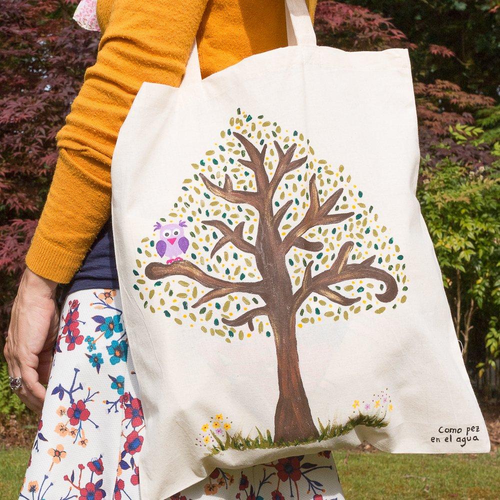 Bolsa de tela pintada con árbol y búho: Amazon.es: Handmade