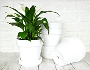 My Urban Crafts 6 Inch Plant Pots Indoor Set of 4 Round Ceramic Planters with Saucer Modern Decorative Garden Flower Pots with Drainage White Pots for Succulents, Snake Plants (Matte White Bisque)