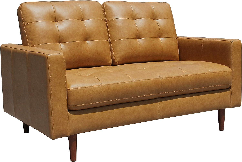 Amazon Com Amazon Brand Rivet Cove Mid Century Modern Tufted Leather Loveseat Sofa 56 W Caramel Furniture Decor