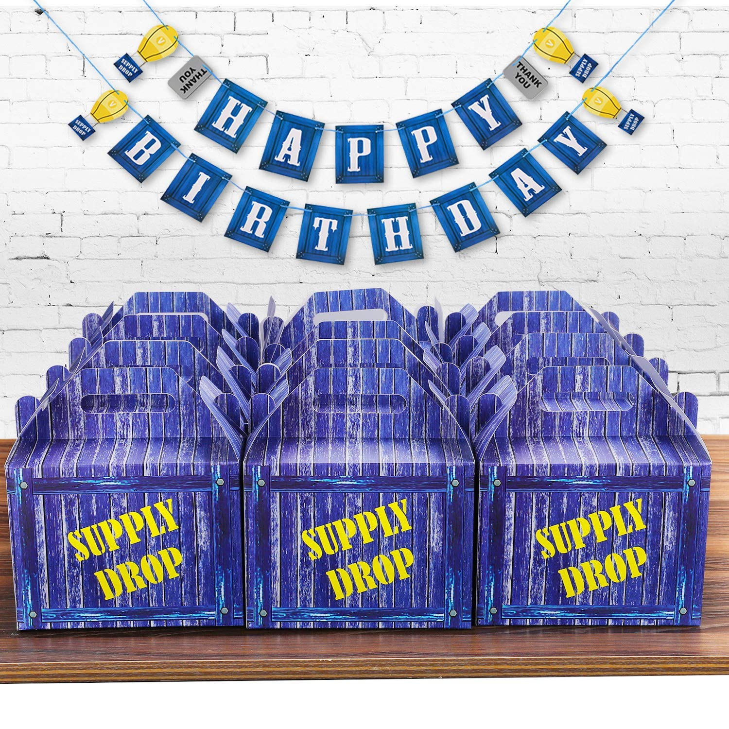 Birthday Party Supplies Set for Game Themed-Including 24 Chug Jug Bottle Labels,24 Game Party Drop Box,24 Cupcake Toppers(24 Styles),1 Birthday Party Banner by Esjay (Image #2)