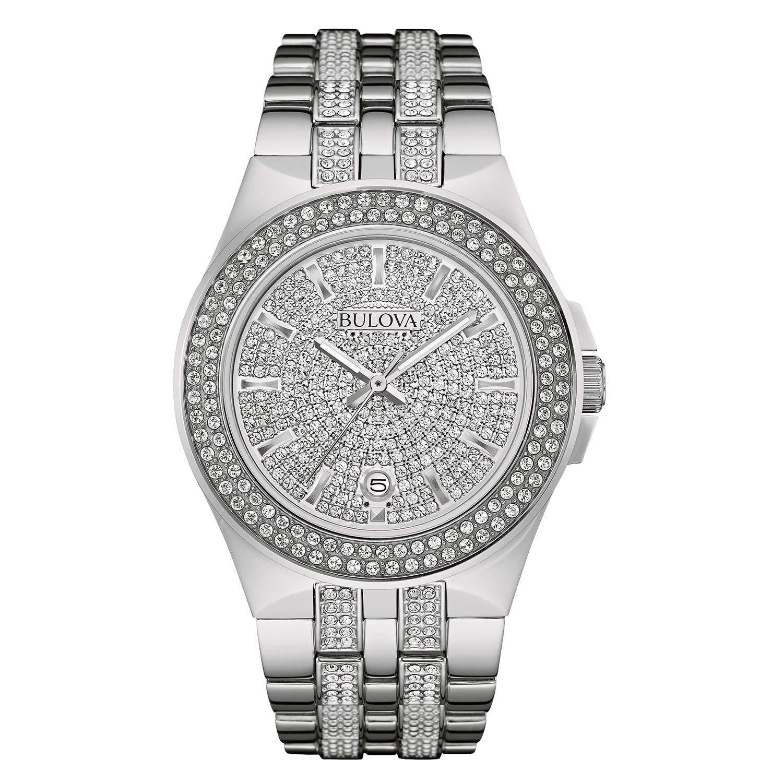 2cc9dc3ad42 Amazon.com  Bulova Men s 96B235 Swarovski Crystal Stainless Steel Watch   Bulova  Watches
