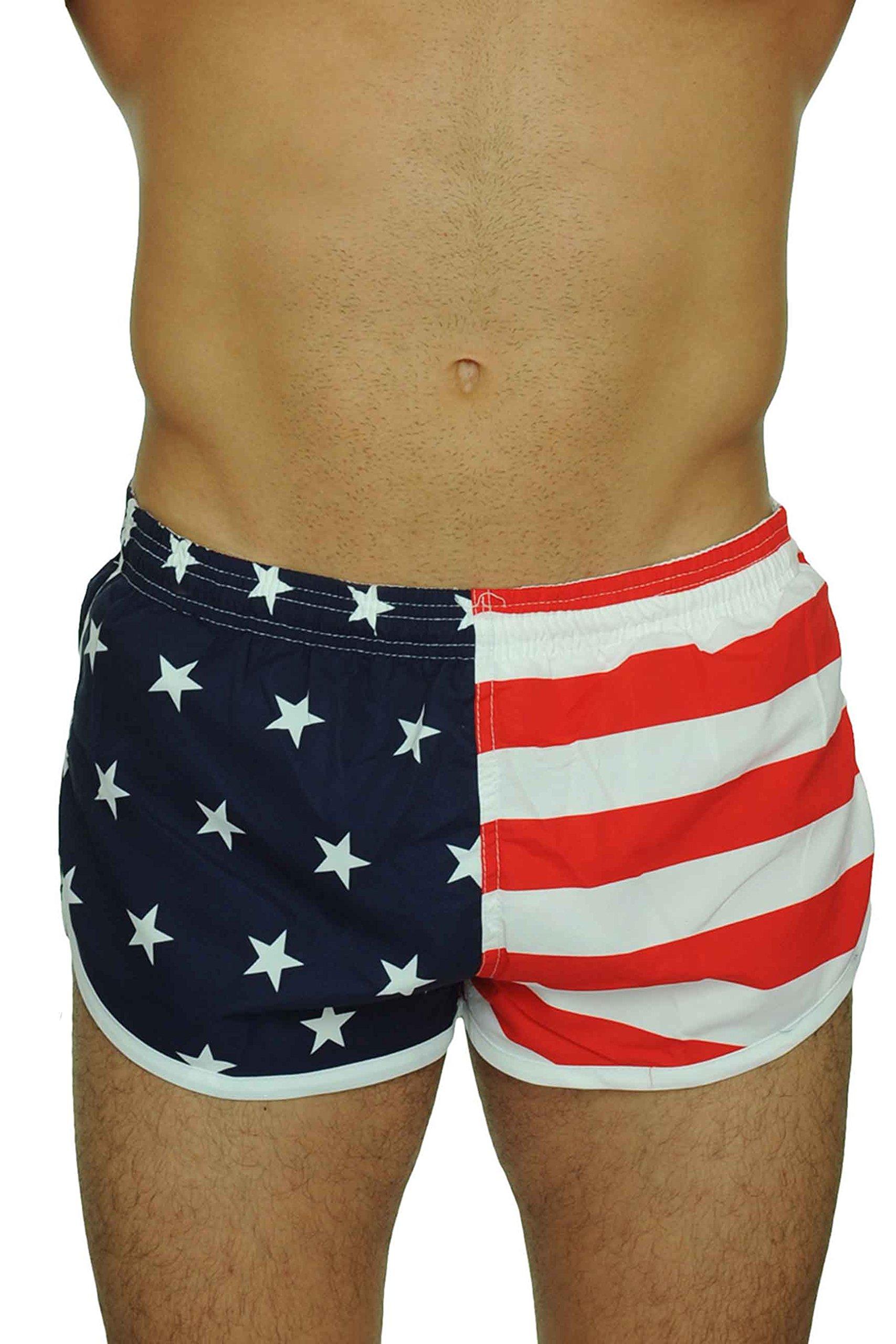 UZZI Men's Running Shorts Swimwear Trunks 1830, American Flag, X-Large by UZZI