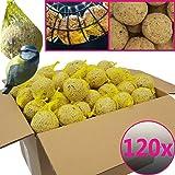 Bolas de grasa para pájaros - 120 bolas = 10,8 kg - Alimento natural con gran aporte energético para aves silvestres - Bolas de grasa con red individual para colgar