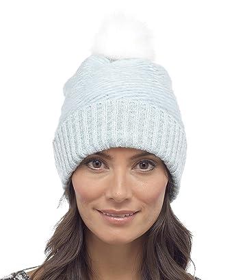 Foxbury Ladies Fluffy Beanie Bobble Hat with Faux Fur Pom Pom One Size  Blue  Amazon.co.uk  Clothing 26892bb3955