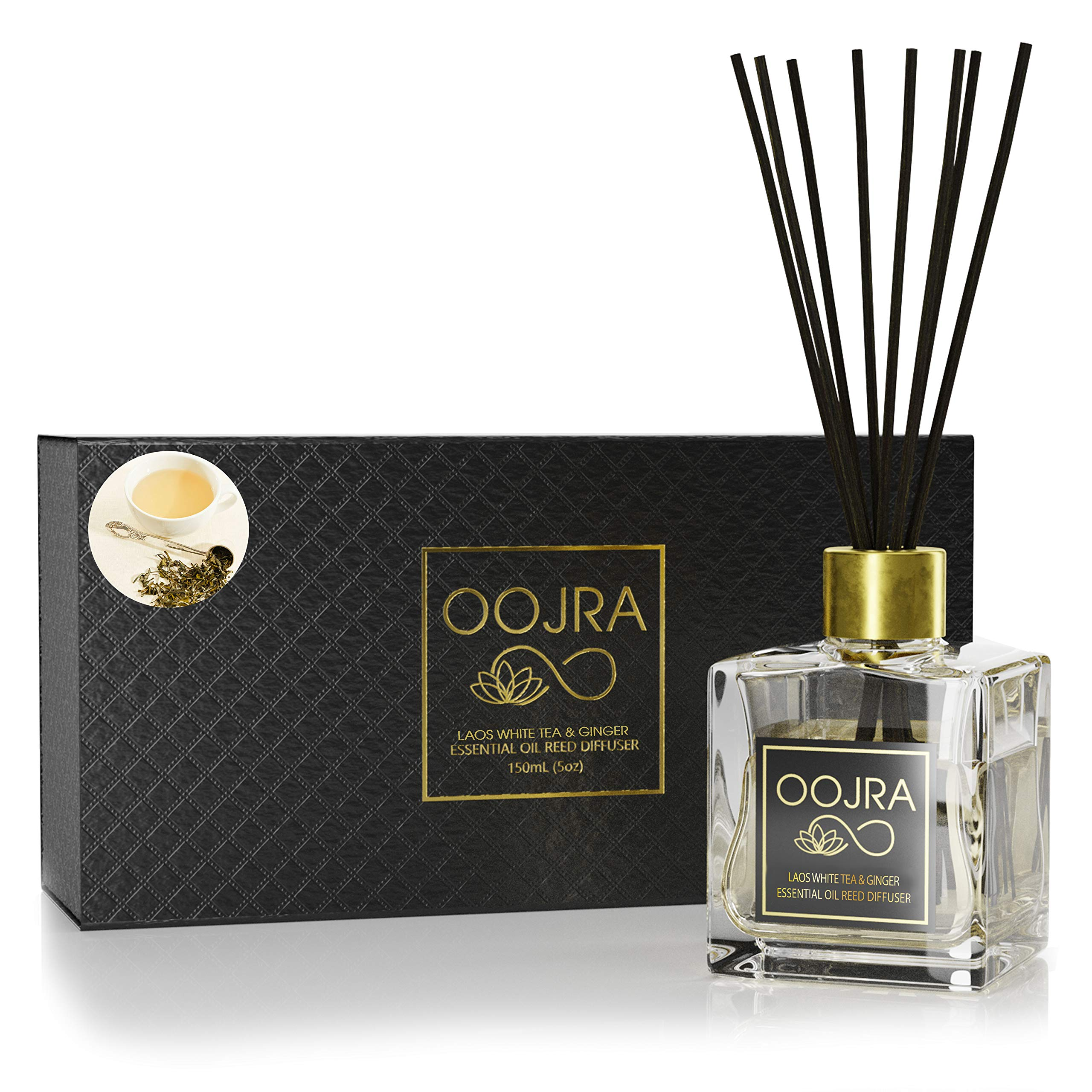 OOJRA Laos White Tea and Ginger Essential Oil Reed Diffuser Gift Set, Glass Bottle, Reed Sticks, Natural Scented Long Lasting Fragrance Oil (3+ Months 4 oz) for Aromatherapy and Air Freshener