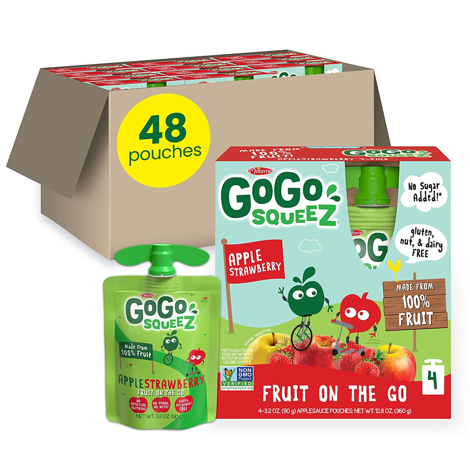 GoGo squeeZ Fruit on the Go, Apple Strawberry, 3.2 oz. (48 Pouches) - Tasty Kids Applesauce Snacks Made from Apples & Strawberries - Gluten Free Snacks for Kids - Nut & Dairy Free - Vegan Snacks