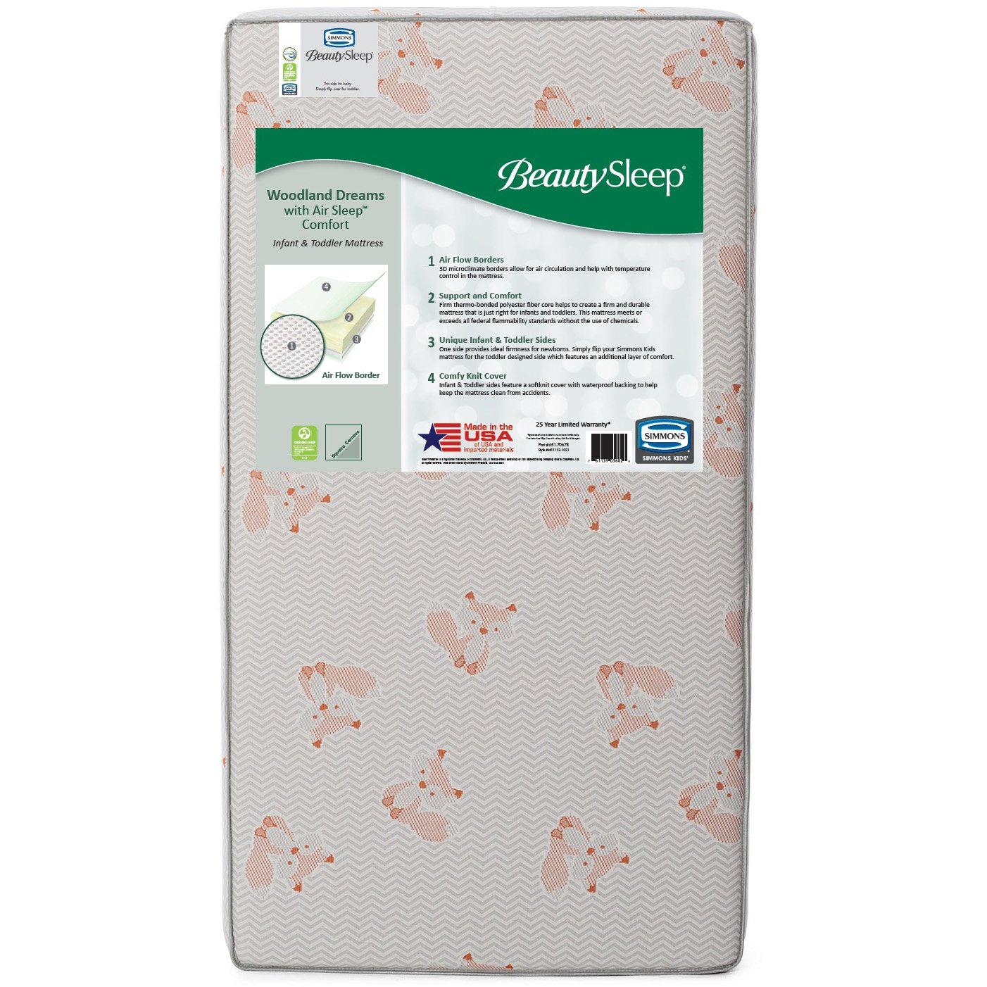 BeautySleep Woodland Dreams with Air Sleep Comfort Fiber Core Crib and Toddler Mattress Natural//Non-Toxic Waterproof| Lightweight Fox GREENGUARD Gold Certified